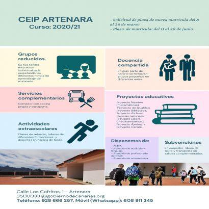 MATRICULA CEIP ARTENARA CURSO 2020/2021
