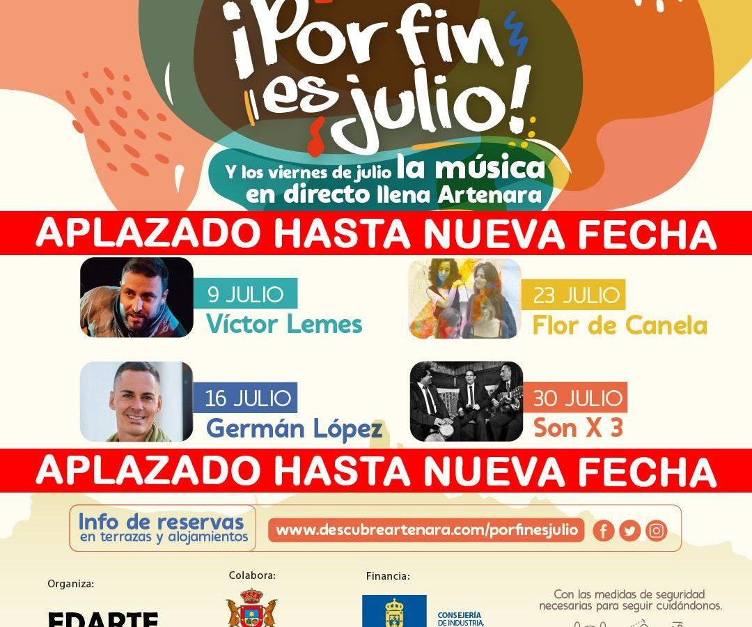 Aplazados todos los conciertos de ¡Por Fin Es Julio!